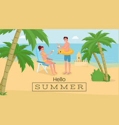 romantic seaside vacation banner happy vector image
