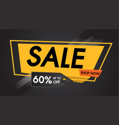 Sale banner black background shop now vector