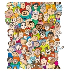 Seamless pattern with a funny cartoon people faces vector