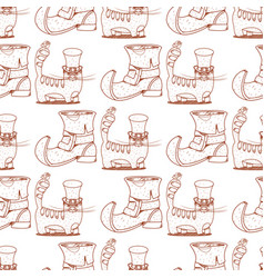 Seamless pattern with cat and shoe leprechaun vector