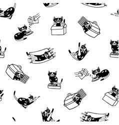 Seamless pattern with funny cat hand drawn in vector