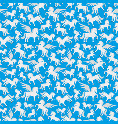 Seamless pattern with pegasus and unicorns vector