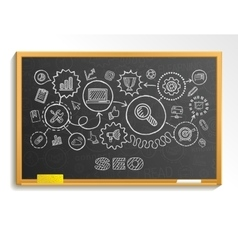 seo hand draw integrated icons set on school vector image
