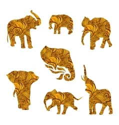 set hand drawn isolated ethnic elephants vector image