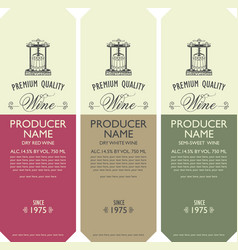 set labels for wine with barrel and wine press vector image