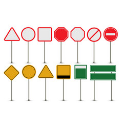 set of blank road signs vector image