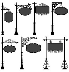 signage sign pole frame street a set street vector image