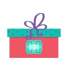 Single red gift box with purple ribbon on vector