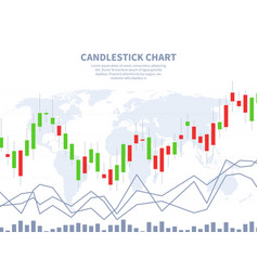 Stock market concept candle stick chart world map vector