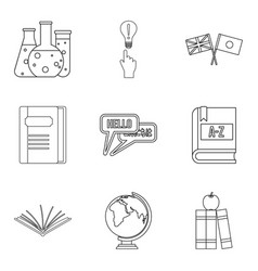 teaching activity icons set outline style vector image
