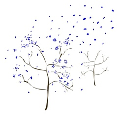 The Art tree with blue leaves fall vector