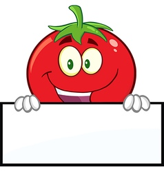 Tomato Cartoon With a Sign vector image