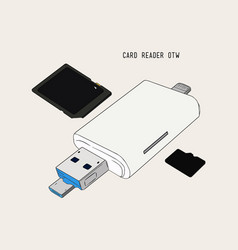 Usb card reader hand draw sketch vector