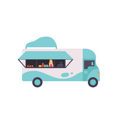 van bus shop with fast food and seller food vector image