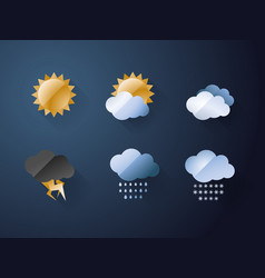 weather icons cool metal style vector image