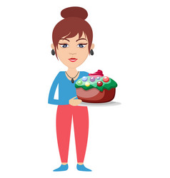 woman with birthday cake on white background vector image