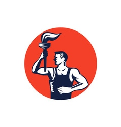 Worker holding up flaming torch circle woodcut vector