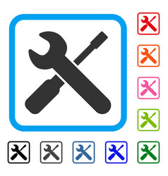 wrench and screwdriver tools framed icon vector image