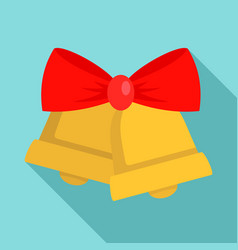xmas gold bell icon flat style vector image