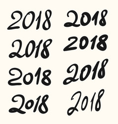 2018 happy new year hand drawn lettering set vector image vector image