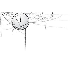 clock entangled in spiderweb vector image