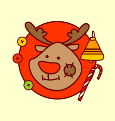 cute reindeer icon merry christmas and happy new vector image