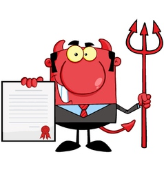 Devil Boss With A Trident Holds Up A Contract vector image