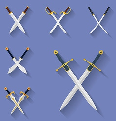 Icon set of ancient swords Flat style vector image vector image