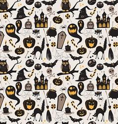 Seamless pattern of vintage happy halloween flat vector