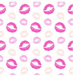 seamless pattern with lips kiss prints vector image