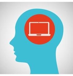 silhouette head laptop icon graphic vector image