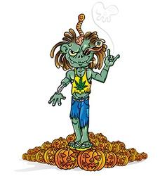 zombie rock cartoon vector image vector image