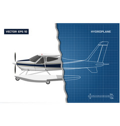 engineering blueprint of plane side view vector image