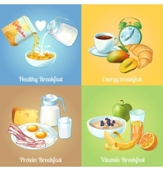 Four Breakfast Compositions vector image
