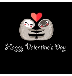 Greeting card with lovers lemurs vector image