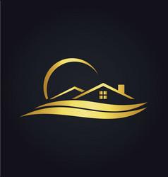 home beach resort gold icon logo vector image