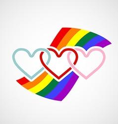 Logo hearts on rainbow background vector image
