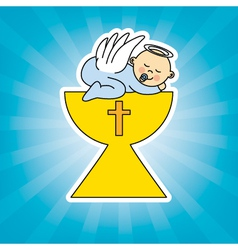 Baby boy in the holy grail vector image