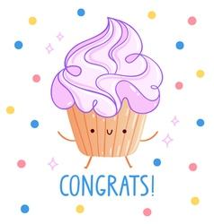 Congrats cupcake vector image