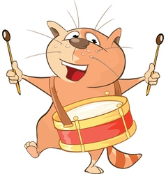 Cute Cat Drummer Cartoon vector image