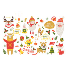 merry christmas poster with cute cartoon animals vector image