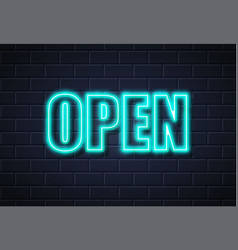 neon open sign brick wall vector image