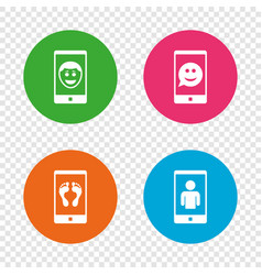 selfie smile face icon smartphone video call vector image vector image