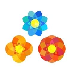 Set of geometry mandala flowers vector image