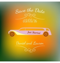 Wedding car over abstract colorful blurred vector image