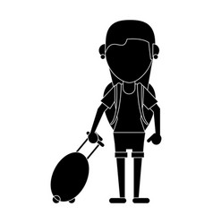 young girl tourist with backpack and suitcase vector image