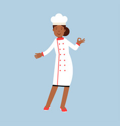 female chef cook character in white uniform giving vector image vector image