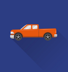 Flat style pickup truck icon vector