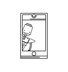 line smartphone technology with robot machine vector image