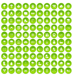 100 snow icons set green circle vector